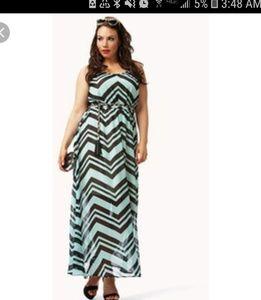 Forever21 2x mint and black Chevron maxi dress